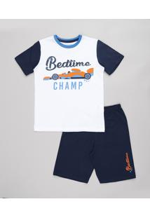 "Pijama Infantil Carro De Corrida ""Bedtime Champ"" Manga Curta Off White"