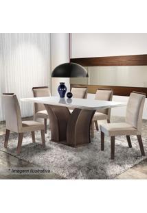 Conjunto De Mesa & Cadeiras Adria- Chocolate & Bege-Lj Móveis