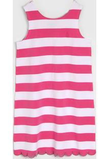 Vestido Polo Ralph Lauren Infantil Listrado Rosa/Branco