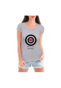 Camiseta Criativa Urbana Acerte Aqui Cupido Cinza