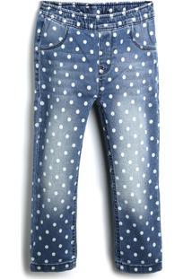 Calça Jeans Jeans Carinhoso Menina Poás/Bolinhas Azul