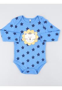 Body Infantil Leão Estampado De Estrelas Manga Longa Azul