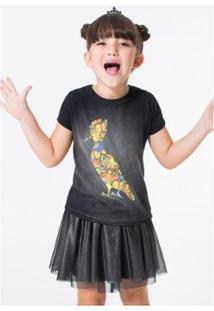 Camiseta Infantil Pica-Pau Panapana Reserva Mini Feminina - Feminino-Preto