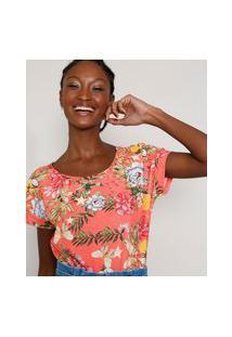 Camiseta Feminina Estampada Floral Manga Curta Decote Redondo Rosa