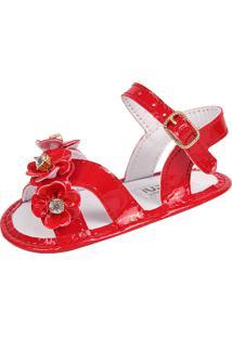 Sandália Para Bebê Lugui Menina Com Tira Trançada Vermelho.
