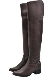 Bota Over The Knee Corazzi Leather Deluxe C  Extensor Panturrilha Couro Café b2213c42fc