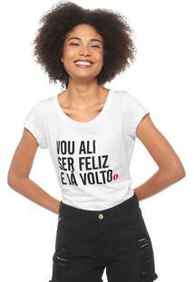 Camiseta Coca-Cola Jeans Ser Feliz Branca