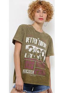 Camiseta Colcci Rock Band Feminina - Feminino-Verde Escuro
