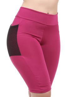 Bermuda Fitness Galvic Suplex Liso Com Bolso Lateral Rosa