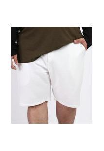 Bermuda Masculina Plus Size De Moletom Com Bolsos Branca