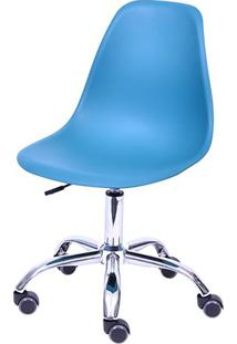 Cadeira Eames Dkr- Azul Petróleo & Prateada- 93X47X4Or Design