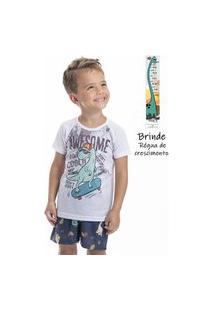 Pijama Curto Dino Infantil Menino - Toque Kids