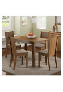 Conjunto Sala De Jantar Madesa Rute Mesa Tampo De Madeira Com 4 Cadeiras Marrom
