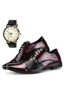 Sapato Social Dhl Calçados Neway Vinho E Preto + Relógio
