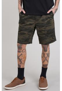 Bermuda De Sarja Masculina Reta Estampada Camuflada Com Bolsos Verde Militar