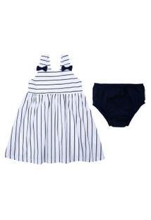 Vestido Baby Com Alças - Listrado - Branco - Algodão E Elastano - Minimi