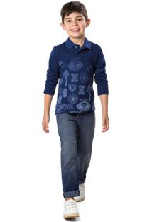 Calça Jeans Tradicional Estonada Menino Malwee Kids Azul Escuro - 1