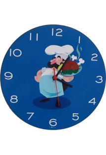 Relogio De Parede Cozinha Cozinheiro 30X30Cm - Carisma Azul