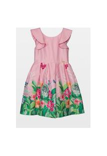 Vestido Laureh Jardim Suculentas Rosa