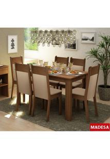 Sala De Jantar Madesa Jaine Mesa De Madeira E 6 Cadeiras - Rustic/ Crema/ Pérola