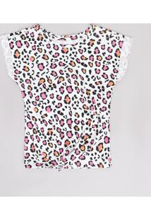 Blusa Infantil Estampada Animal Print Onça Com Amarração Manga Curta Branca