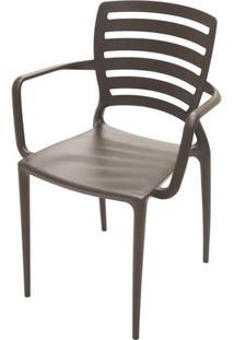Cadeira Com Braco Sofia Encosto Vazado Horizontal Cor Marrom - 26156 - Sun House