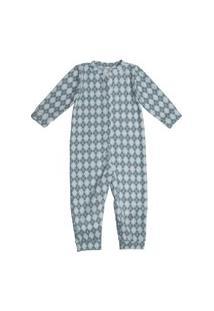 Macacão Pijama Bebê Everly Microsoft Estampado Azul