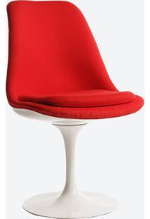 Cadeira Saarinen Revestida - Pintura Branca (Sem Braço) Couro Bege C