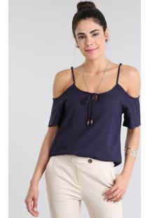 Blusa Open Shoulder Azul Marinho