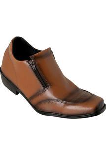 Sapato Social Caramelo Com Duplo Zíper