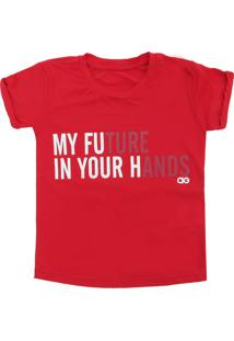 Camiseta Alto Giro Menina Escrita Vermelha