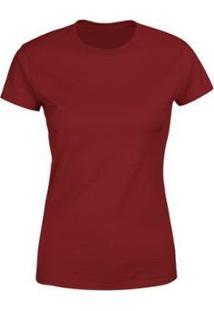 Camiseta Goup Supply Lisa Básica Premium 100% Algodão Feminina - Feminino-Vinho