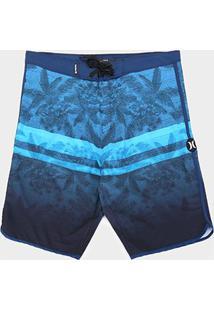 Bermuda Água Hurley Texture Plus Size Masculina - Masculino-Azul