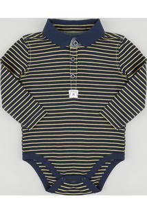 Body Polo Infantil Listrado Em Piquet Manga Longa Azul Marinho