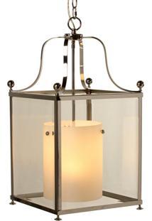 Lustre Pendente Athos De Aço Inox E Vidro Para 1 Lâmpada Bivolt