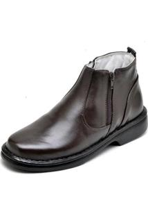 Bota Top Franca Shoes Social Conforto Masculino - Masculino-Cafe