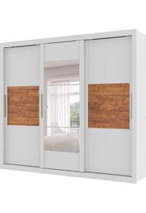 Guarda-Roupa Casal Argos Com Espelho 3 Pt 5 Gv Branco E Native