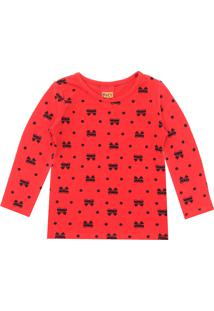 Camiseta Kyly Menina Laço Vermelha