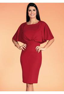 Vestido Com Babado Vermelho Moda Evangélica
