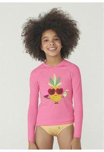 Camiseta Hering Manga Longa Com Proteção Solar Feminina - Feminino-Rosa