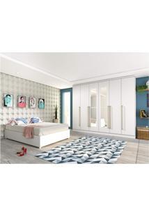 Quarto De Casal Completo Com Cama E Guarda Roupa Com Espelho Siena Móveis Branco
