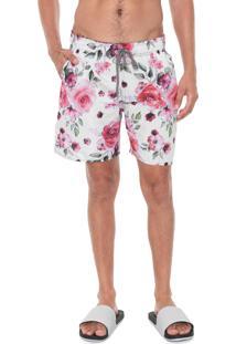 Bermuda Água Polo Wear Quadrada Floral Branca/Rosa