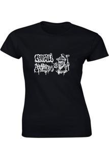 Camiseta Algodão Kronoz Feminina Preta - Kanui