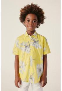 Camisa Infantil Reserva Mini Mc Hibisco Masculina - Masculino-Amarelo Claro