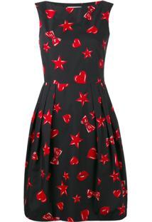 Moschino Vestido Estampado - Preto