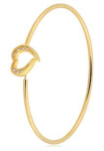 Pulseira Toque De Joia Bracelete Fio Coração - Feminino-Dourado