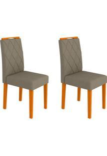 Conjunto Com 2 Cadeiras Isabela Ii Ipê E Cinza