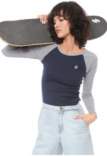 Camiseta Volcom Lived Azul-Marinho/Cinza