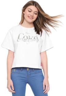 Camiseta Cropped Coca-Cola Jeans Aplicações Branco