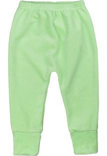 Calça De Bebê Pé Reversível Plush Básico Verde Verde